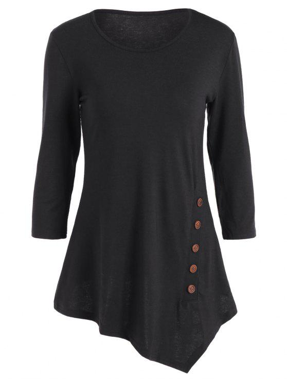 fancy Buttoned Three Quarter Sleeve Blouse - BLACK XL