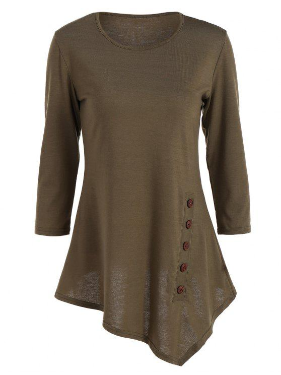 buy Buttoned Three Quarter Sleeve Blouse - ARMY GREEN XL