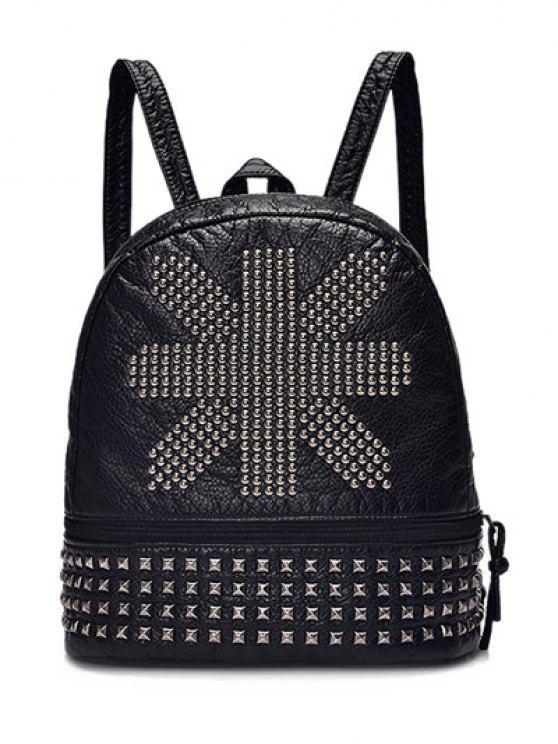 trendy Punk PU Leather Rivet Backpack - BLACK