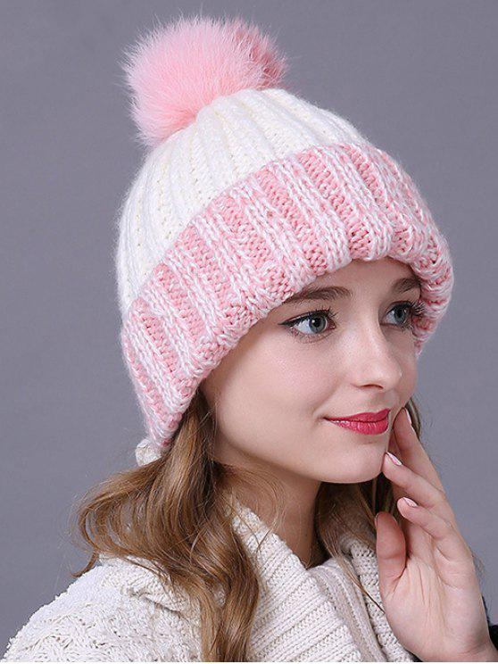 women's Fuzzy Ball Flanging Knitted Beanie - PINK