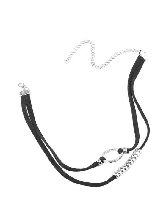 shops Faux Leather Velvet Round Beaded Choker - SILVER