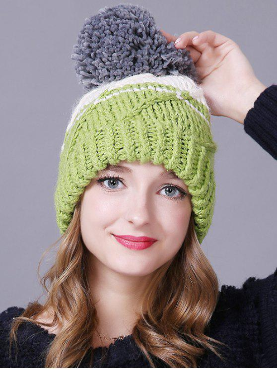 hot Big Ball Stripy Braid Knitted Beanie - LIGHT GREEN