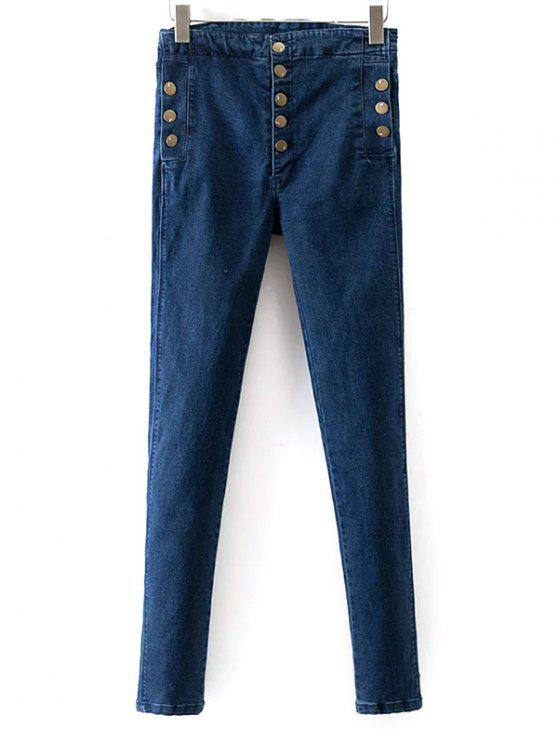 shops Buttoned Skinny Jeans - BLUE 27