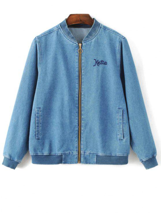 Bordado chaqueta con cremallera de los pantalones vaqueros - Denim Blue L