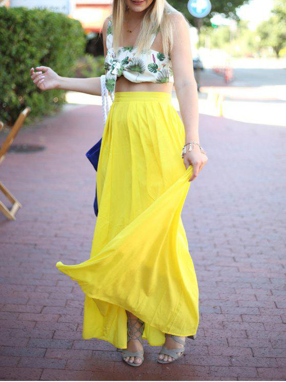 shop High-Waisted Maxi Skirt - YELLOW M