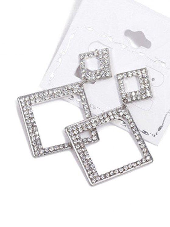 shops Alloy Rhinestone Geometric Drop Earrings - SILVER