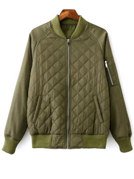 Argyle camiseta manga acolchada chaqueta de bombardero - Verde del ejército M