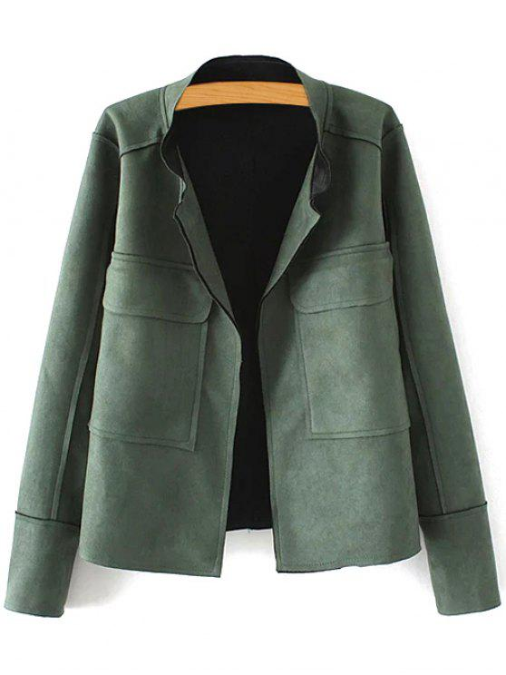 hot Plus Size Suede Jacket - GREEN XL