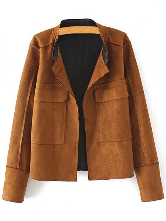 Plus Size Suede Jacket - café XL