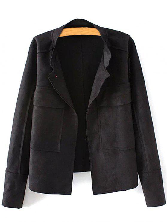 latest Plus Size Suede Jacket - BLACK 2XL