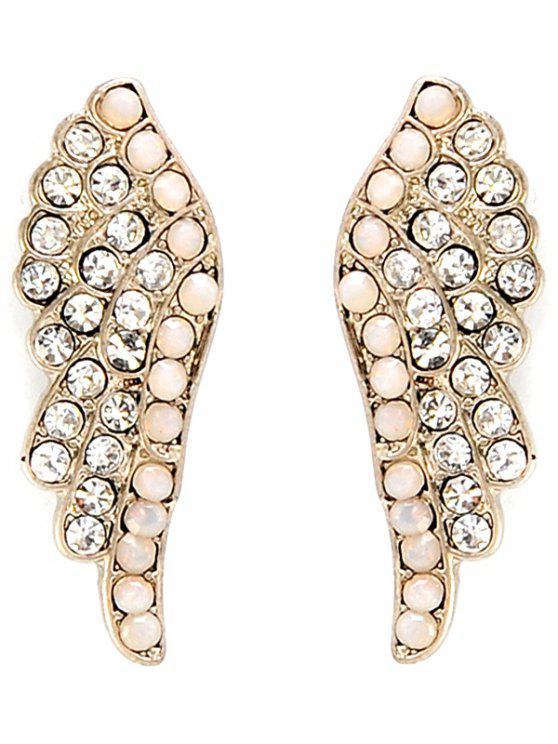 unique Angel Wings Rhinestone Earrings - GOLDEN