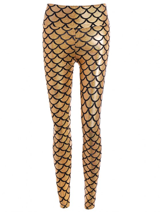 sale Shiny Fish Scale Leggings - GOLDEN ONE SIZE