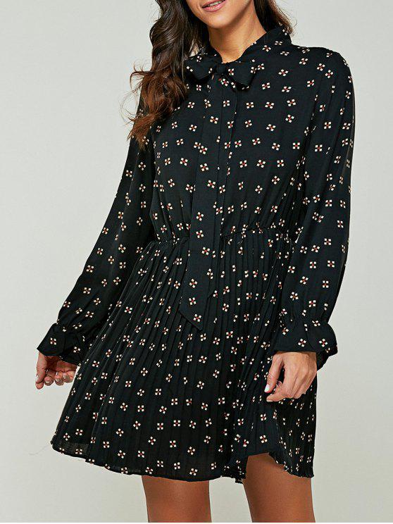 Impreso de la pajarita del collar vestido de la gasa - Negro XL