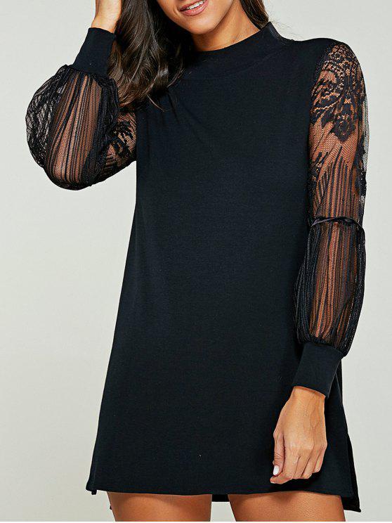 Vestido de suéter de cuello tortuga empalmado de encaje - Negro 5XL