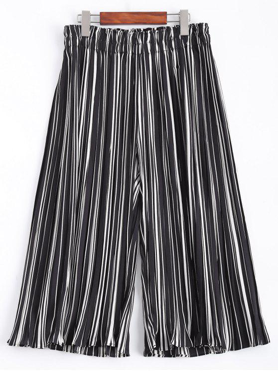 fancy Stripe Elastic Waist Chiffon Wide Leg Pants - STRIPE 2XL