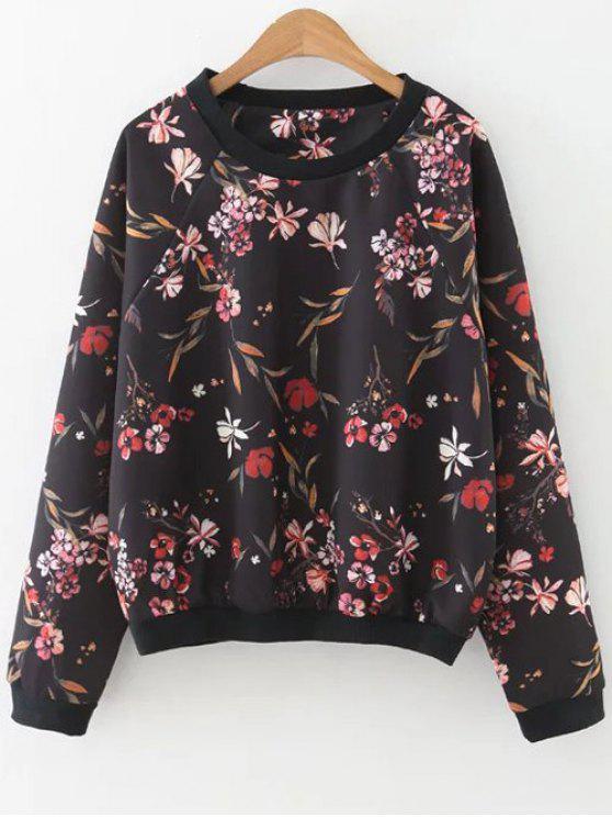 La camiseta de manga raglán floral - Negro L