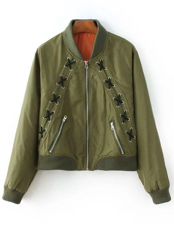 shop Zipped Lace Up Bomber Jacket - ARMY GREEN M