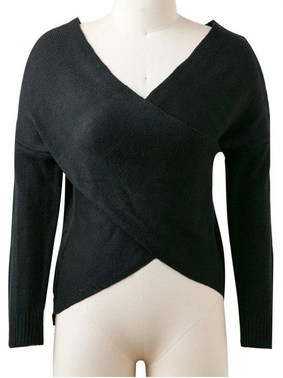 fancy Drop Shoulder Reversible Sweater - BLACK ONE SIZE