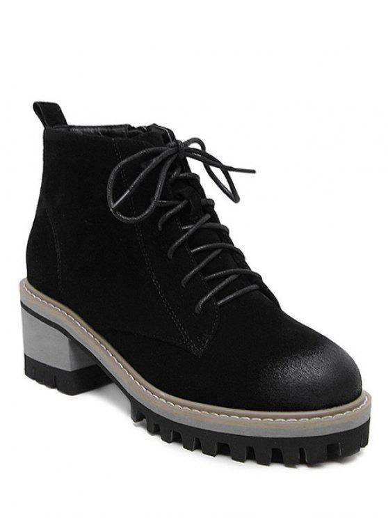 ladies Dark Colour Platform Tie Up Ankle Boots - BLACK 37