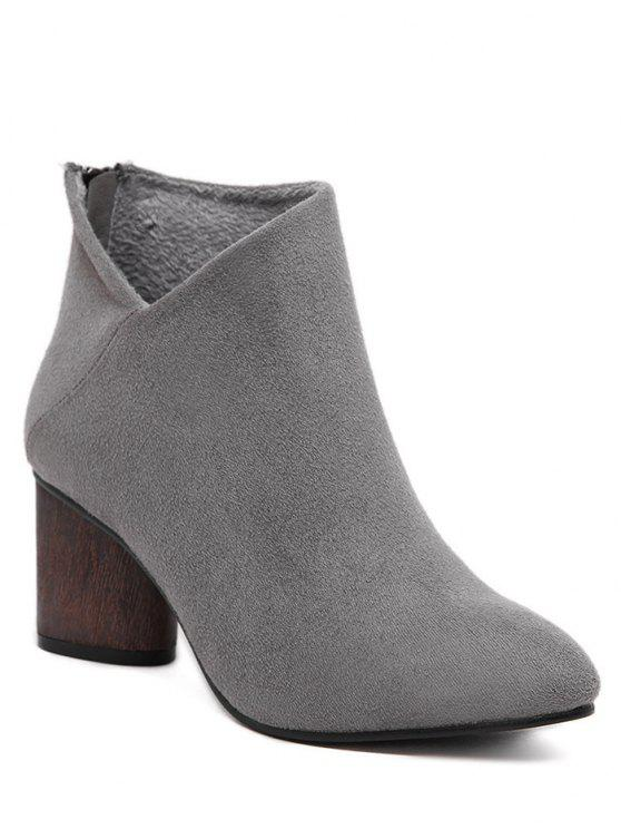 online V-Shape Pointed Toe Zipper Ankle Boots - GRAY 37
