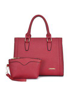 Metal Stitching PU Leather Tote Bag - Red