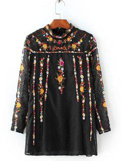 Ruffled Flowers Mexican Embroidered Spliced Blouse - Black Xs