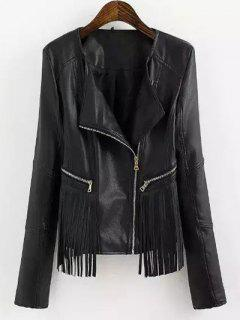 Fringed Faux Leather Biker Jacket - Black M