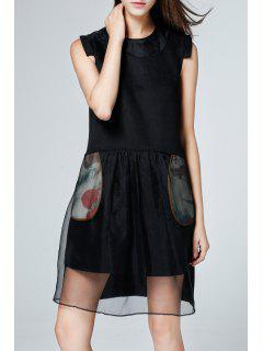 Silk Splicing Knee Length Sleeveless Dress - Black S