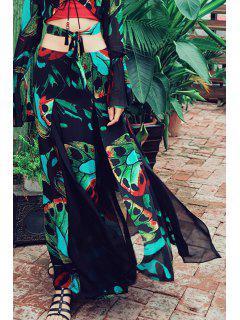 Chiffon Print Maxi Skirt - Multi S