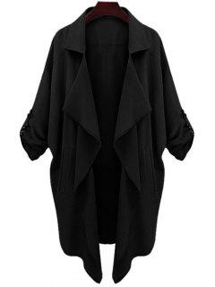 Manteau Tranché  Et élégant En Couleur Unie à Col Revers Et Manches Longues - Noir S