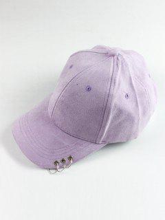 Circle Hoop Faux Suede Baseball Hat - Light Purple