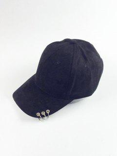 Circle Hoop Faux Suede Baseball Hat - Black
