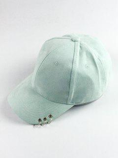 Circle Hoop Faux Suede Baseball Hat - Mint Green