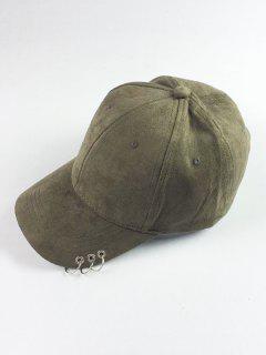 Circle Hoop Faux Suede Baseball Hat - Blackish Green