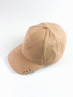Circle Hoop Faux Suede Baseball Hat - Light Camel