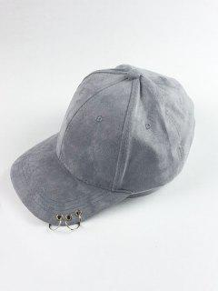 Circle Hoop Faux Suede Baseball Hat - Gray