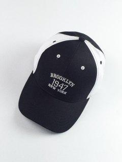Numbers Embroidery Color Block Baseball Hat - White And Black