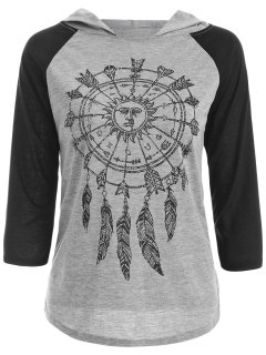 Hooded Printed Raglan Sleeve T-Shirt - Gray L
