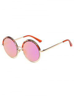 Aquatic Plant Frame Mirrored Round Sunglasses - Peach Pink