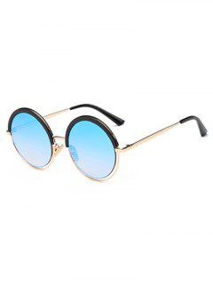 Hollow Out Mirrored Round Sunglasses - Light Blue