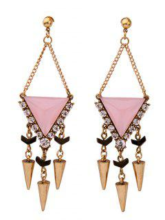 Rhinestone Triangle Rivet Pendant Earrings - Pink