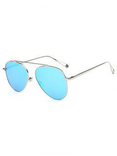 Lightweight Metal Mirrored Pilot Sunglasses - Ice Blue