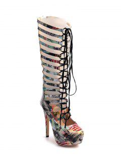 Hollow Out Building Print Tie Up Boots - 39