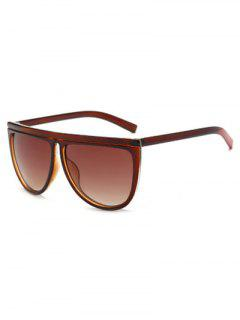 Color Block Leg Oversized Sunglasses - Tea-colored