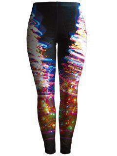 Printed Colorful Leggings - Black S