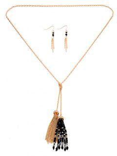 Beaded Fringe Necklace Set - Black