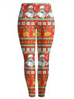 Christmas Santa Clause Leggings - Red S