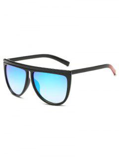Color Block Leg Oversized Mirrored Sunglasses - Ice Blue