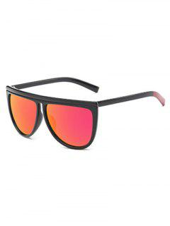 Color Block Leg Oversized Mirrored Sunglasses - Red