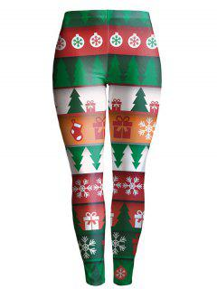 Snowflake Christmas Tree Leggings - Green L